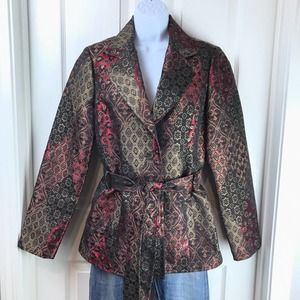 Cache Textured Brocade Jacket Belted Lined Sz 6